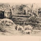 "Max Liebermann ""Ferkelchen"". 1890. Pl. 15,8 x 21,7 cm, Bl. 39,2 x 53,4 cm. 1000 €"