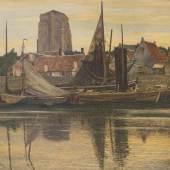 """Max Clarenbach 1880 Neuss - 1952 Wittlaer Fischereihafen am Abend (Zierikzee) Öl auf Lwd; H 110,5 cm, B 135,5 cm; signiert u. l. """"M.  Schätzpreis:10.000 - 15.000 EUR"""