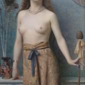 Max Nonnenbruch (1857-1922)  Junge Bacchantin mit Thyrsosstab. ÖL/Lwd., unten links signiert und datiert 1899  130 x 79 cm