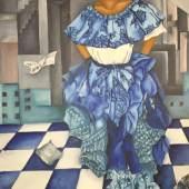 """((Bild Mayra Moreno Allison en azul ...""""; Bildnachweis: Mayra Moreno)): """"Allison en azul"""" in Öl auf Leinwand von Mayra Moreno. Die Künstlerin aus Panama verarbeitet in ihrer Kunst Gewaltkonflikte ihrer Jugend und Kindheit im Dschungel."""