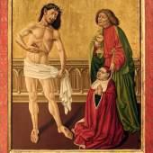 Meister des Albrechtsaltars  Epitaphbild des Johannes Geus, 1440  Malerei auf Tannenholz  120 x 85 cm  © Bischöfliches Dom- und Diözesanmuseum, Wien