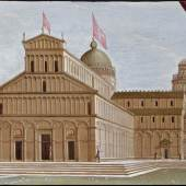 Exhibitor: Altomani & Sons  Pietro Ciafferi called lo Smargiasso (Pisa 1604 - 1661) View of the Cathedral of Pisa Oil on panel, 32.5 x 39 cm View of the Cathedral of Pisa decorated with the Belt for the feast of the Assumption on the 15th of August. On the left two priests with red mozzetta, canons of the primatial, a privilege granted to the Second Vatican Council (instead of the usual purple mozzetta)