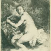Exhibitor: E.H. Ariëns Kappers  Rembrandt van Rijn (Leiden 1606-1669 Amsterdam) Diana at the bath Etching on 17th-century paper without watermark  Signed in the plate lower right 'RHL. f.'  Circa 1631  Fine impression of this rather large print. The drawing for this etching is in the British Museum and shows the outlines indented for transfer on the copperplate. Rembrandt used very fine lines, which tend to show some wear even in the earlier impressions. This copy must come from a French collection. The old mount shows the Le Blanc no. 165 with the comment 'Très belle épreuve'. Rembrandt probably made the print in 1631, the year he moved to Amsterdam . In that period he began to display interest in mythological subjects. Diana is only recognizable through her quiver. He made several editions in the following ten years. In late impressions the print is grey.