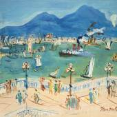 The Bay of Naples Jean Dufy (Le Havre 1888-1964 Boussay) French school Oil on canvas 34 x 42 cm Signed lower right Certificate of authenticity by Jacques Bailly n° 4339 Provenance: Hammer Galleries, USA; William F. Carr, USA; private collection, The Netherlands.  Aussteller: Boon Gallery