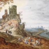 Large coastal landscape with a port and fishmongers in the foreground Jan Brueghel II (Antwerp, 1601-1678) Oil on panel 45 х 66 cm Circa 1630.  Aussteller: Foundation Fine Art SVB