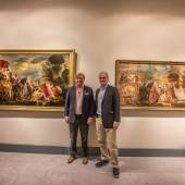 Meeting of Masterpieces at TEFAF 2013 Johnny van Haeften and Jean-Luc Baroni viewing Odysseus and Nausicaa, painting and cartoon by Jacob Jordaens (1593-1678) brought together for the first time in centuries.