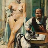"""Paul Meissner (1907-1983), """"Schriftsteller mit Akt"""" Öl auf Leinwand, monogrammiert, 80,5 x 60,3 cm Foto: © Kunsthandel Widder"""