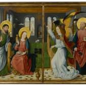 MEISTER DER HEILIGEN SIPPE, UM 1490 Zwei Altarflügel: Verkündigung Mariä, mit den Heiligen Bartholomäus und Petrus. Öl auf Eichenholz. Je 134x94 cm. CHF 300 000 / 500 000 Auktion 28. März 2014