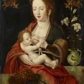 Meister mit dem Papagei (tätig in Antwerpen 1520 – 1540) Die Madonna mit den Trauben   Öl auf Holz   45,5 x 35,5 cm Taxe: 40.000 - 60.000 Euro