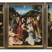 Nr. 349 210 Meister von Hoogstraten Heilige Familie mit Engeln und die Heiligen Katharina und Barbara Öl auf Holz, 63 x 55,5 cm (Mittelstück) und jeweils 63 x 22 cm (Flügel) Schätzpreis: € 200.000 – 240.000,-