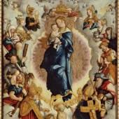 Meister von Meßkirch, Wildensteiner Altar: Madonna mit den vierzehn Heiligen des Zimmernschen Hauses (Mitteltafel), 1536, Mischtechnik auf Nadelholz, 64 x 60cm, Staatsgalerie Stuttgart