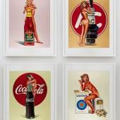 Mel Ramos, Tomato Catsup; Tobacco Red; Lola Cola; and A.C. Annie, 1971-72 (est. £5,000-7,000)