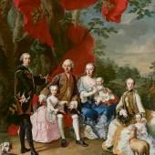 Martin van Meytens d. J., Die Familie des Grafen Nikolaus Pálffy von Erdöd, um 1760 Öl auf Leinwand 333 x 283 cm © Belvedere, Wien
