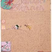 Günter Brus: Zyankal-Zyklamen, 1982/83 5-teilige Bilddichtung, Ölkreide auf Packpapier, je 106 x 79 cm © Privatsammlung Graz