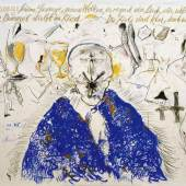 Günter Brus: Neuer Schilfgesang, 1983 Kohle, Wachs- und Ölkreide auf Papier und Leinwand, 158 x 249 cm © Sammlung Essl; Foto: Archiv des Künstlers