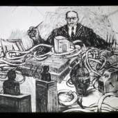 William Kentridge: MINE, 1991 Film, Länge: 5'50'' 35 und 16 mm, transferiert auf Video (Farbe, Ton) © Courtesy the artist, Marian Goodman Gallery (New York, Paris, London); Goodman Gallery (Johannesburg, Cape Town) and Lia Rumma Gallery (Naples, Milan)