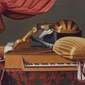 Evaristo Baschenis, Werkstatt, Stillleben mit Musikinstrumenten, 2. Hälfte 17. Jahrhundert, MHK, Gemäldegalerie Alte Meister
