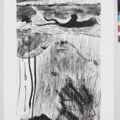 Per Kirkeby, Ohne Titel, Blatt aus einer Folge von fünf großformatigen Radierungen, 1990, 235 x 129 cm, MHK, Graphische Sammlung