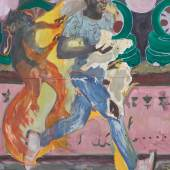 Michael Armitage The Chicken Thief, 2019 Oil on Lubugo bark cloth 78 3/4 x 59 1/16 in. (200 x 150 cm) © Michael Armitage. Photo © White Cube (Theo Christelis)