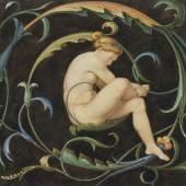 Carl Julius Milde (1803 - 1875) Weiblicher Akt in einer Ranke, um 1834 Aquarell, 220 x 265 mm © Privatsammlung Photo: Engelbert Seehuber, München