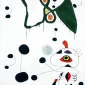 Joan Miró Femme et oiseau dans la nuit, 1945 Öl auf Leinwand, 146 x 114 cm Privatsammlung © Successió Miró / 2015 ProLitteris, Zürich