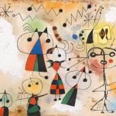 Joan Miró Peinture (Femme se poudrant), 1949 Öl, Gouache, Aquarell, Pastellfarbe und Tinte auf Leinwand mit weissem sandgemischten Zement, 35,3 x 46 cm Sammlung Nahmad © Successió Miró / 2015 ProLitteris, Zürich