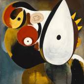 Joan Miró Tête humaine, 1931 Öl, Draht, Holzscheiben und Sandpapier auf Leinwand, 81 x 65 cm Privatsammlung © Successió Miró / 2015 ProLitteris, Zürich