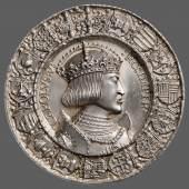 Porträtmedaille auf Karl V. (reg. 1520 – 1556) (1.6 MB) Albrecht Dürer (Nürnberg 1471 – 1528 Nürnberg) (Entwurf) Hans Krafft (? 1481 – 1542/43 Nürnberg) (Ausführung) 1521 Silber (Prägung) Inv.-Nr. 18bβ © KHM