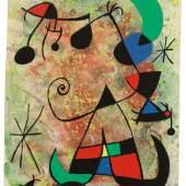 Nr. 390 367 Joan Miró Femme et oiseaux dans la nuit. 1967 Tusche, Gouache und Aquarell über Bleistift auf Papier, 20,3 x 15,1 cm Prov.: Slg. Will Grohmann Ergebnis: EUR 161.000,-