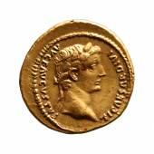 Tiberius für Divus Augustus, Aureus (421 KB) Lugdunum (Lyon), 14–37 7,83 g, 19,5 mm Vs: TI CAESAR DIVI AVG F AVGVSTVS; Kopf des Tiberius mit Lorbeerkranz nach rechts Münzkabinett, Inv.-Nr. RÖ 5099 © KHM