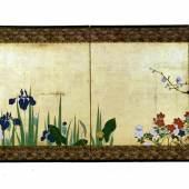 SuzukiKiitsu (1796-1858) Pflanzen in den vier Jahreszeiten, Japan, Edo-Zeit, um 1855 Malerei in Tusche, Farben und Gold auf Papier © Museum für Kunst und Gewerbe Hamburg