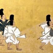 Tosa-Schule Detail aus: Der Held Narihara und seine Begleiter bewundern den schneebedeckten Fuji-Berg, Japan, Edo-Zeit, um 1700 Malerei mit Tusche, Farben und Gold auf Papier © Museum für Kunst und Gewerbe Hamburg