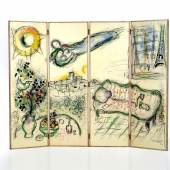 Marc Chagall (1887-1985), Interieur mit Liebespaar und Blick auf den Eifelturm, Paris, 1964, Lithographie auf Holz. © Museum für Kunst und Gewerbe Hamburg
