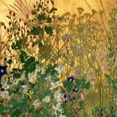 Ikeda Koson (1801-1866), Detail aus: Die sieben Herbstpflanzen mit Vollmond, Japan, späte Edo-Zeit, Mitte 19. Jh., Tusche, Farben und Gold auf Papier, © Museum für Kunst und Gewerbe Hamburg