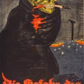Rudi Feld (Lebensdaten unbekannt), Die Gefahr des Bolschewismus. Plakat der Verbände gegen den Bolschewismus, Ende 1918, Lithografie, 94 x 69,5 cm, © unbekannt, Foto: Museum für Kunst und Gewerbe Hamburg