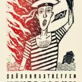 """Henning Wagenbreth (*1962), Gründungstreffen """"Neues Forum"""" Prenzlauer Berg, 1989, Plakat, Offsetlithografie, 56 x 100 cm, Museum für Kunst und Gewerbe Hamburg, © Henning Wagenbreth"""