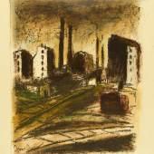Willy Davidson, Bahngleise, Aus der Mappe:  Erde und Eisen, 1920, Lithografie, koloriert, 50,2 x 40 cm, © Museum für Kunst und Gewerbe Hamburg