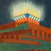 Max Gerntke, Entwurf für ein Denkmal, um 1920, Farbige Kreiden, Wasserfarben,  72,5 x 50,5 cm, © Museum für Kunst und Gewerbe Hamburg