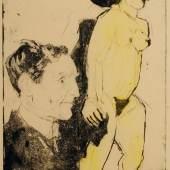 """Rolf Nesch (1893–1975), Porträt Max Sauerlandts mit der Skulptur """"Badende"""" von Ernst Ludwig Kirchner, 1929, Radierung, 32,8 x 44,8 cm, MKG, © VG Bild-Kunst, Bonn 2019"""