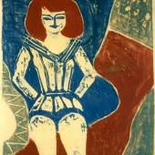 Zirkusartistin, Arnold Fiedler, 1933, Farblinolschnitt auf Papier, 47 x 38 cm