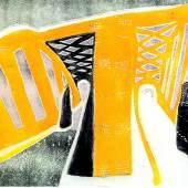"""Rolf Nesch (1893-1975), """"Elbbrücke"""" I (aus dem Zyklus """"Hamburger Brücken""""), Hamburg, 1932, Metalldruck auf Papier, Dauerleihgabe aus der Sammlung Hamburger Sparkasse, Foto: Fotostudio Grünke, Hamburg"""