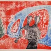 """Rolf Nesch (1893-1975), """"Hafenbrücke"""" (Freihafenbrücke I) (""""aus dem Zyklus """"Hamburger Brücken""""), Hamburg, 1932 Farbradierung auf Papier, 44,8 x 59,8 cm, Dauerleihgabe aus der Sammlung Hamburger Sparkasse, Foto: Fotostudio Grünke, Hamburg"""
