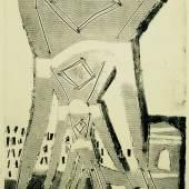 """Rolf Nesch (1893-1975), """"Hochbahnbrücke"""" II (aus dem Zyklus """"Hamburger Brücken""""), Hamburg, 1932, Metalldruck auf Papier, 59,7 x 44,9 cm, Dauerleihgabe aus der Sammlung Hamburger Sparkasse, Foto: Margot Schmidt, Hamburg"""