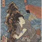 Utagawa Toyokuni III., Der Schauspieler Ichikawa Kodanji IV., 1854, Farbholzschnitt, 35,7 x 26 cm, Museum für Kunst und Gewerbe Hamburg, © MKG