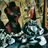 Karl Kluth (1898-1972) Stillleben mit Modellpuppe | Still life with mannequin, 1956 Öl auf Karton | oil on cardboard, 125 x 125 cm © Vera Kluth