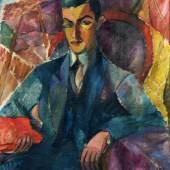 Alma del Banco (1863-1943), Mann mit rotem Buch, Hamburg, um 1927, Öl auf Leinwand, Dauerleihgabe aus der Sammlung der Hamburger Sparkasse, Foto: Maria Thrun, MKG