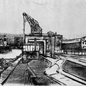 Willem Grimm (1904-1986), Im Hafen, 1934, Lithografie auf Papier, Dauerleihgabe aus der Sammlung der Hamburger Sparkasse, Foto: Fotostudio Grünke Hamburg, © VG Bild-Kunst, Bonn 2019