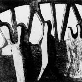 """Rolf Nesch (1893-1975), Freihafenbrücke III, aus der Serie """"Hamburger Brücken"""", 1932, Metalldruck auf Papier, Dauerleihgabe aus der Sammlung der Hamburger Sparkasse, Foto: Fotostudio Grünke Hamburg, © VG Bild-Kunst, Bonn 2019"""