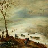 3021 JOOS DE MOMPER und JAN BRUEGHEL D. Ä. (1564 Antwerpen 1635) (Brüssel 1568-1625 Antwerpen) Winterlandschaft mit Figuren. Öl auf Holz. 45 x 68,5 cm. Öl auf Holz. 45 x 68,5 cm. CHF 120 000 / 180 000