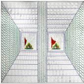 Monir Farmanfarmaian, Recollections I, 2008, mirror mosaic and reverse glass painting, 140x140cm (est. £160,000-200,000)